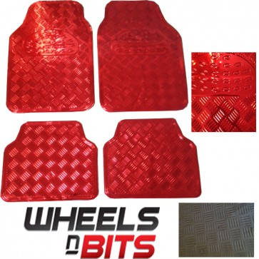 Brand Universal New Heavy Duty Red Metal Look Checker Car Mats Wheels N Bits Set