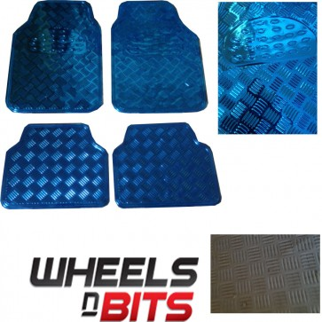 4 PIECE HEAVY DUTY BLUE  LOOK CHECKER PLATE CAR VAN MAT SET NON-SLIP FLOOR MATS