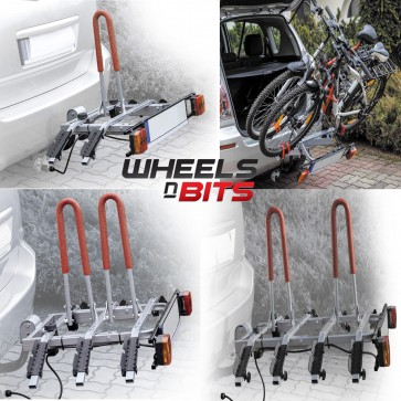 Towbar Mounted Tilting 2,3,4 Bike Rack Cycle Carrier Steel 50mm Hitch Platform