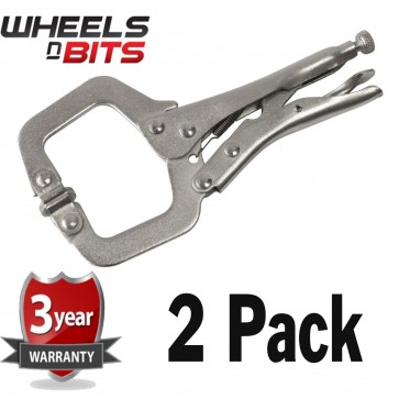 NEW 2 Pack Heavy Duty 11 Inch Locking Mole Grip C Clamps Work Welding Clamps Set