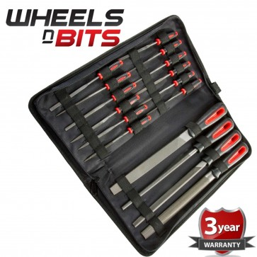 16pc File Set 12x10cm small 4x20cm Files Rubber Gripped Garage Engineers + Case