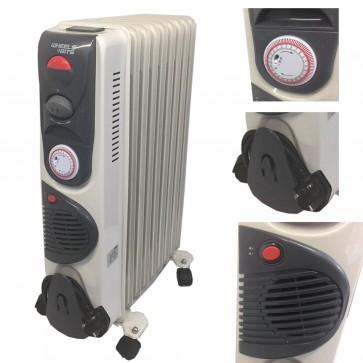 2500 Watt 11 Fin Oil Filled Heater Radiator 24 hour time with turbo heat Fan