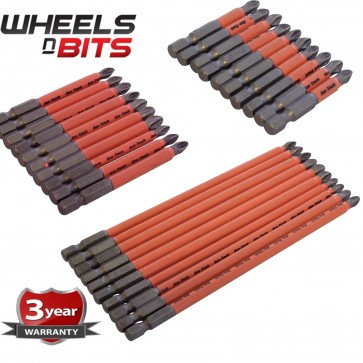 10PC 50mm 70mm 150MM NON SLIP BITS Pozi #1, #2 ,Phillips #1, #2 #3, Slotted 4&5m