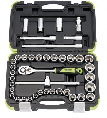 "Draper 1/2"" Inch Sq DR Metric Socket Set 41PC with Case Professional Garage"