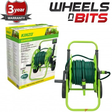 NEW 30M 90FT Outdoor Garden Hose on Compact Cart Reel include 6pc fittings Inc