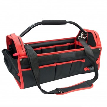 TOTE TOOL CADDY BAG HEAVY DUTY BASE CARRY CASE HOLDALL ALUMINIUM HANDLE 18""