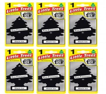 6 x Magic Tree Little Tree Black ICE Scent Fragrance Car Van Air Freshener Packs