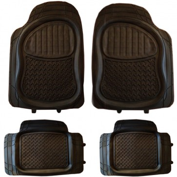 Jeep 4x4 SUV Deep Ridged Mud Snow mat Rubber PVC Car Mats Extra Heavy Duty 4pcs