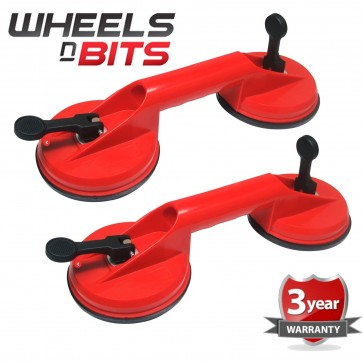 2x DUAL SUCTION CUP ALUMINIUM GLASS LIFTER SUCKER PAD CARRYING GRABBING PULLER 6