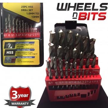 Boxed 25Pcs Precision High Speed Steel TWIST HSS Drill Bit Set 1-13 mm inc Case