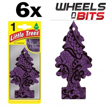 6x Magic Tree Little Tree Midnight Chic Scent Fragrance Car Van Air Freshener Pk
