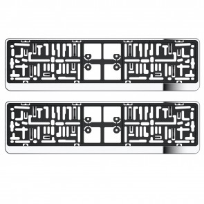 2X Chrome Number Plate Holder Suround For Mitsubishi With Uk Spec Standrad Plate