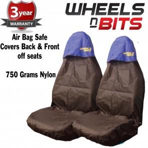 Ford Fiesta Focus Car Seat Cover Waterproof Nylon Front Pair Protectors BLUE TOP