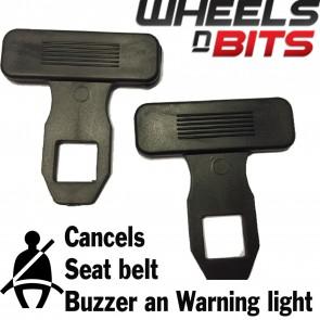 Wheels N Bits New 2x Universal Seat Belt Clip Alarm Buckle Key Buzzer Warning Light Clearer