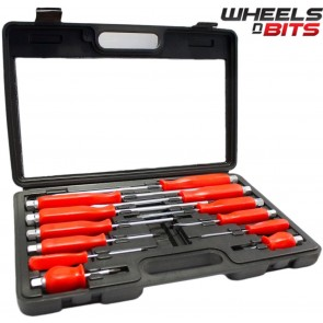 12 PCS ENGINEERS SCREWDRIVER SET HEAVY DUTY MECHANICS WITH HEX BOLSTERS AND CASE
