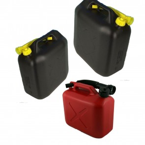5 10 20 L LITRE FUEL DIESEL PETROL BLACK PLASTIC WATER JERRY CAN & POURING SPOUT