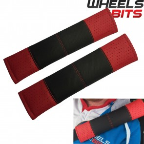Wheels N Bits Black & Red Stitch Seat Belt Harness Pads Should Straps PVC Leather for Volvo