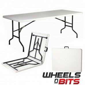 Wheels N Bits J-Living 6FT 1.8M Folding Trestle Table Heavy Duty Plastic Portable Party BBQ