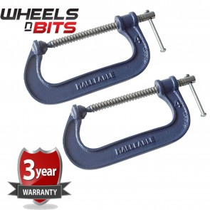 Wheels N Bits 2x Heavy Duty G Clamp 4 Inch 100mm G-Clamps with Copper Screw with Swivel Pad