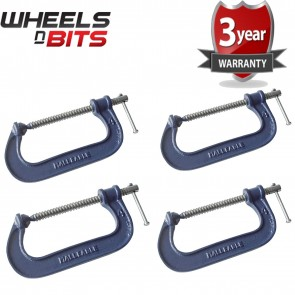 Wheels N Bits 4x Heavy Duty G Clamp 6 Inch 150mm G-Clamps with Copper Screw with Swivel Pad