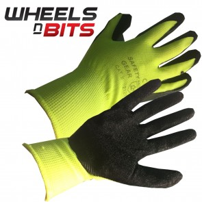 SIZE 10 XL LATEX COATED HI-VIS RUBBER WORK GLOVES BUILDER GARDENING SAFETY GRIP