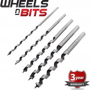Wheels N Bits 5pc Auger Bit Set 6, 8, 10, 12, 14mm Wood Drilling Bits For Hand Brace Drills