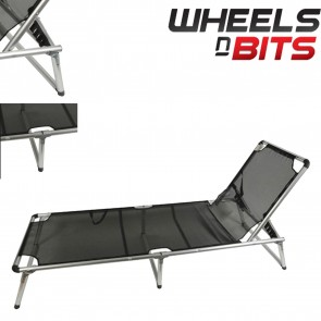 Aluminium Black Sun Lounger Garden Deck Chair Patio Terrace Recliner Foldable