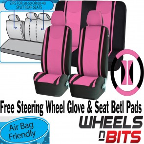 PINK Mesh Cloth Car Seat Cover Steering Glove to fit Fiat 500 500L 500C Panda