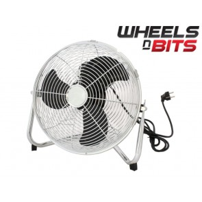 "NEW 100 WATT 40CM 16"" INCH HIGH VELOCITY FLOOR FAN, CHROME  ELECTRIC FAN"