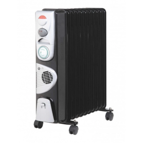 J-Home 11 Fin Black oil filled Electric Radiator on castors for easy movement