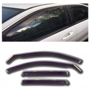 Tinted WIND DEFLECTORS FRONT & REAR 4pcs fits Seat Leon 5Door 2006> MK2 EU Made