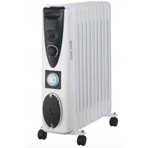 Portable 11 Fin 2.5kw Electric OIL FILLED RADIATOR Heater Thermostat 24hr White
