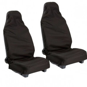 2 Water Proofed Seat Covers Occasional Use Black Cover Pair VW Volvo Most Models
