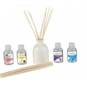 J Living Fragrance diffuser Ceramic Vase sticks 4x50ml smells Rose Lavender Vanilla Ocean