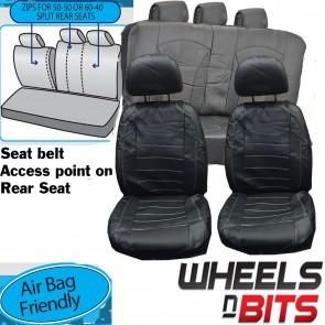 Wheels N Bits Jaguar XF XFR XJ Universal Black White Stitch Leather Look Car Seat Covers Set