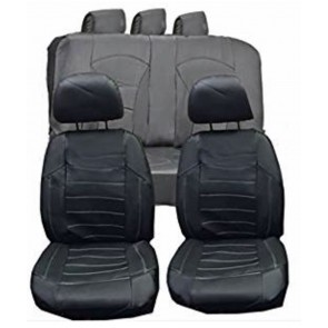 Wheels N Bits Leather Faux Car Seat Covers Full Set Black White Stitch To Fit Bmw 3 Series