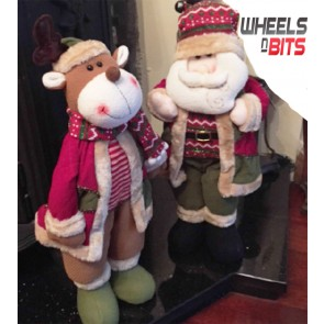 NEW Santa & Reindeer Set Stand Soft Cuddly Christmas Decoration Ordament Set 163