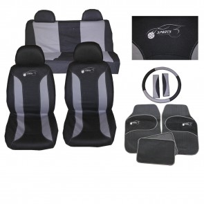 Universal Car Seat Cover Set 15 Pieces Black/Grey Washable + Styling Pack Ks8105