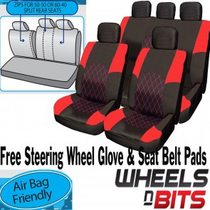 VW Polo Passat Touareg RED & BLACK Cloth Car Seat Cover Full Set Split Rear Seat