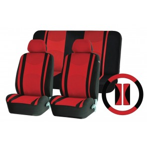 Full Set Red Mesh Cloth Car Seat Cover Steering Glove fit Fiat Corma Qubo Panda