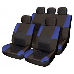 Car Seat Cover Set Blue & Black Cloth Split Rear Steering Wheel Belt Pads - BMW