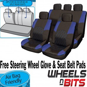 VW Caddy Amarok Passat CC BLUE & BLACK Cloth Seat Cover Full Set Split Rear Seat