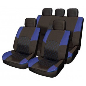 BLUE & BLACK Cloth Car Seat Cover Full Set Split Rear Seat Belt Pads & Steering