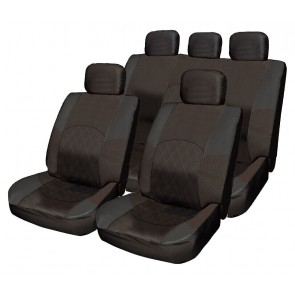 ALL Black Cloth CAR Seat Cover Full Set Split Rear Steering Wheel & Belt Pads