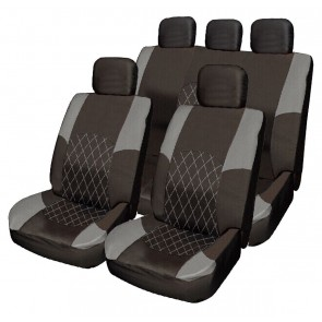 Car Seat Cover Grey & Black Cloth  Set Split Rear Seat Steering Wheel Kit