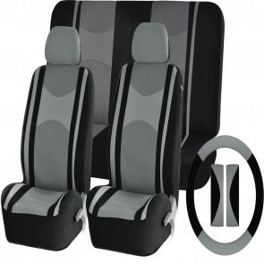 Grey Mesh Cloth Car Seat Cover Steering Glove Seat Belt Pads fit BMW & Mini