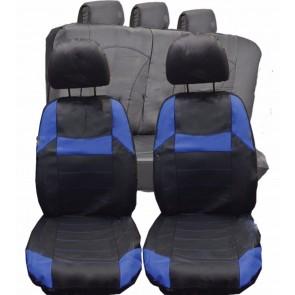 Fiat Corma Qubo UNIVERSAL BLACK & Blue PVC Leather Look Car Seat Covers Set