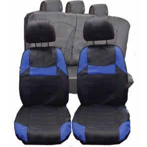 WNB Leather Faux Car Seat Covers Full Set Universal Black & Blue to fit BMW