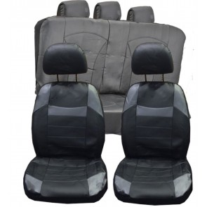 Leather Faux Car Seat Covers  Set Front & Rear BLACK & Grey Universal Fits BMW