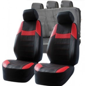 UNIVERSAL BLACK & RED  PVC Leather Look Car Seat Covers Air Bag Compatible